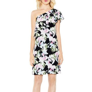 Vince Camuto Women's Floral Shoulder Ruffle Dress