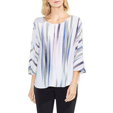 Vince Camuto Women's Watercolor Etched Stripe Top