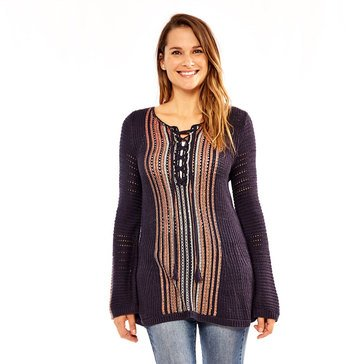 Skye's The Limit Women's Lace Up Neck Textured Sweater