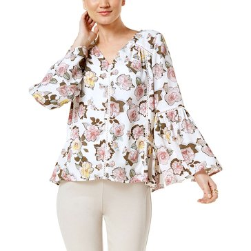 I.N.C. International Concepts Women's Woven Floral V-Neck Shirt