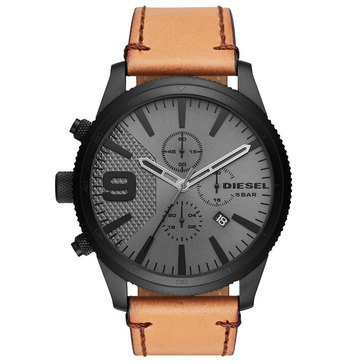 Diesel Men's Rasp Brown Leather Chronograph Watch, 50mm