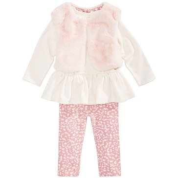 First Impressions Baby Girls' Fur Vest Set, Sugar Lila