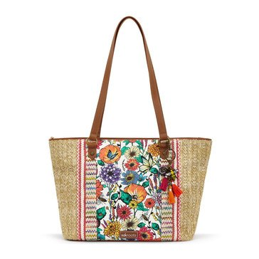 Sakroots Meadow Med Straw Satchel Optic In Bloom