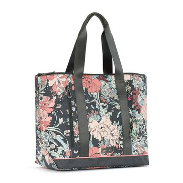 Sakroots Nylon Finch Large Tote Charcoal Flower Power