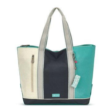 Sakroots Nylon Finch Large Tote Seafoam Colorblock