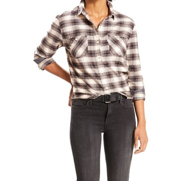 Levi's Women's Workwear Boyfriend Plaid Woven Button Down Shirt