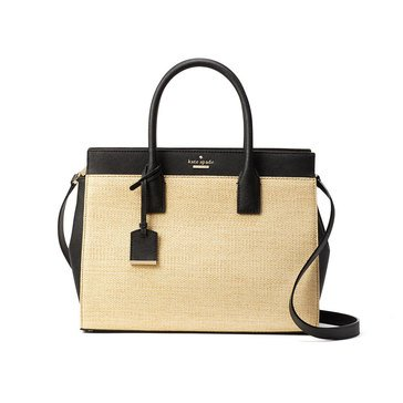 Kate Spade Cameron Street Staw Candace Satchel Natural Black
