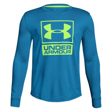 Under Armour Big Boys' Textured Tech Crew Tee, Blue/Lime