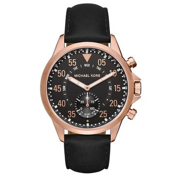 Michael Kors Men's Gage Black Leather Smart Watch, 45mm