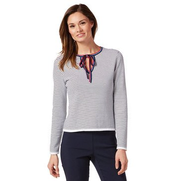 Brooks Brothers Women's Striped Sweater With Neck Tie