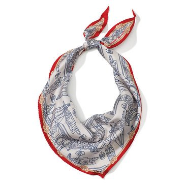 Brooks Brothers Women's Sailboat Outline Silk Triangle Scarf