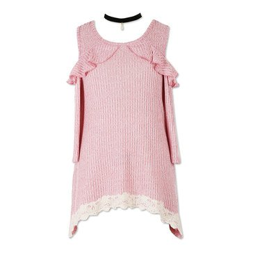 Speechless Big Girls' Rib Knit Ruffle Cold Shoulder Sharkbite Top, Rose