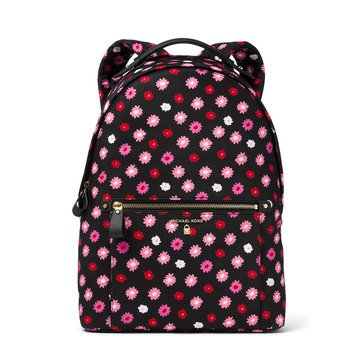 Michael Kors Nylon Kelsey Large Backpack Carntn Printed Black/ Ultra Pink