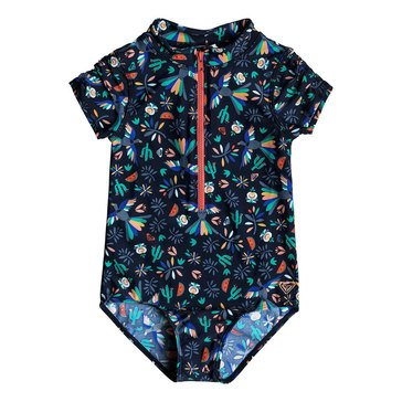 Roxy Little Girls' 1-Piece Birdy Front Zip Rashguard Swimwear