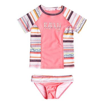 Roxy Little Girls' 2-Piece Indi Rashguard Swimwear Set