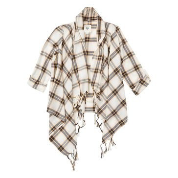 Billabong Big Girls' Scenester Plaid Cozy Fringe Top