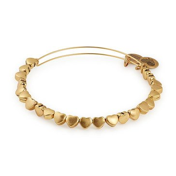 Alex and Ani Heart Beaded Expandable Bangle, Gold Finish