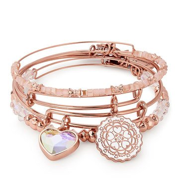 Alex and Ani Paper Hearts Set of 4 Expandable Bangles, Rose Gold Finish