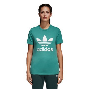 Adidas Women's Trefoil Cotton Short Sleeve Tee in Teal