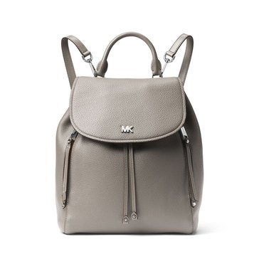 Michael Kors Evie Medium Backpack Pebble Pearl Grey