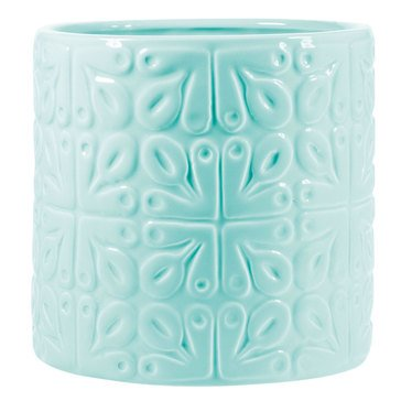 Home Essentials Embossed Tile Utensil Crock, Light Blue