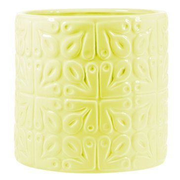 Home Essentials Embossed Tile Utensil Crock, Yellow