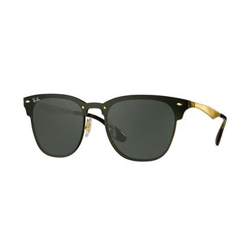 Ray-Ban Unisex Sunglasses Gold Striped Gray Green 41mm