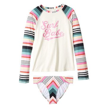 Billabong Big Girls' Sun Fade Rashguard Swimwear Set