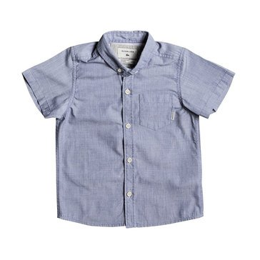 Quiksilver Little Boys' Everyday Wilsden Short Sleeve Woven Shirt, Dark Denim