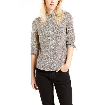 Levi's Women's Modern Button Down Woven Pocketed Shirt in Thimbelberry Oatmeal