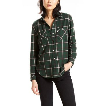 Levi's Women's Workwear Boyfriend Long Sleeve Plaid Woven Button Down Shirt