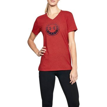 Under Armour Women's Freedom Circle V-Neck Tee in Red