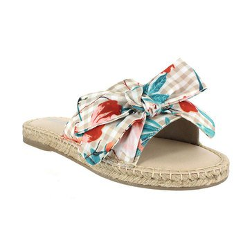 Mia Brenda Gingham Bow Esp Natural White