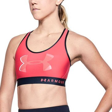 Under Armour Women's Armour Mid Keyhole Back Big Logo Sports Bra