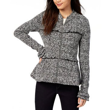 Maison Jules Women's Zip Jacket with Ruffle And Peplum