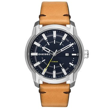 Diesel Men's ArmBar Brown Leather Strap Watch, 45mm