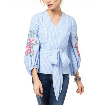I.N.C. International Concepts Women's Woven Striped Poplin Top With Floral Embroidered Shirt