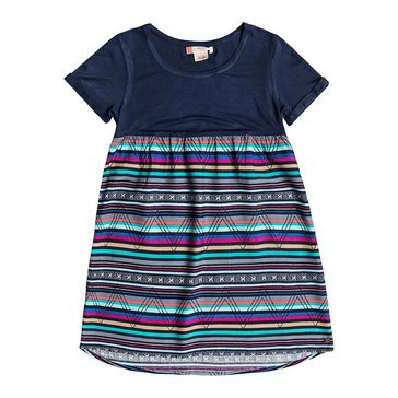 Roxy Big Girls' Short Sleeve Branche Of Lilac Knit To Woven Dress