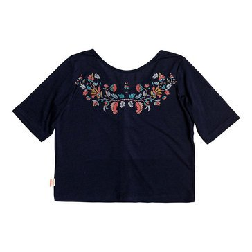 Roxy Big Girls' Short Sleeve Suddenly You Are Crop Button Back Tee