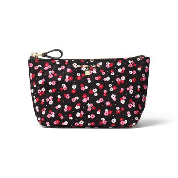 Michael Kors Nylon Kelsey Medium Travel Pouch Carnations Printed Poly Black/ Ultra Pink