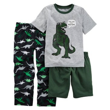 Carter's Little Boys' Green T-Rex 3-Piece Poly Sleep Wear Set