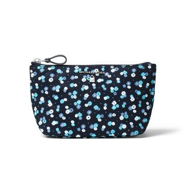 Michael Kors Nylon Kelsey Medium Travel Pouch Micr Carntions Printed Poly Admiral/ Tl Blue