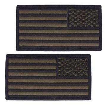 NWU Type-III FULL EMBROIDERED (Washable) Green Large Shoulder Patch Reverse Field American Flag on Velcro