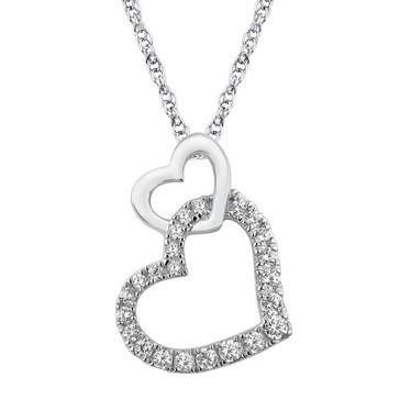 Double Heart Pendant 1/5 cttw, Sterling Silver