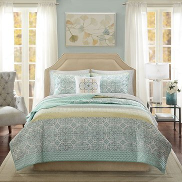 Madison Park Sybil Green 8-Piece Coverlet - Queen