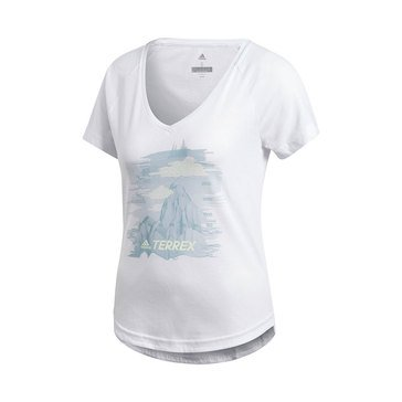 Adidas Women's Mountain Printed Short Sleeve V-Neck Tee in White