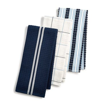 Martha Stewart Collection Navy Kitchen Towels, Set of 3