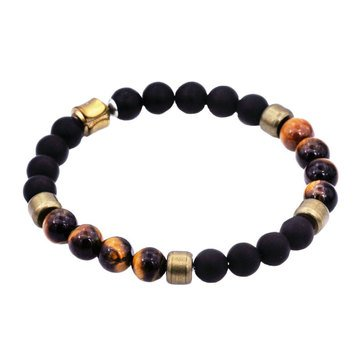 Blackjack Oxidized Gold Plated Stainless Steel Onyx And Tigereye Bead Bracelet