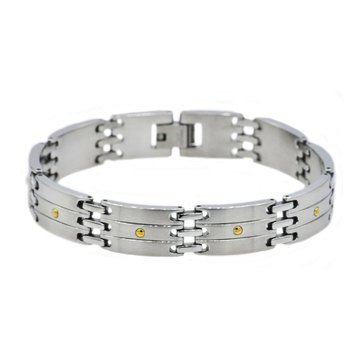 Blackjack Men's Stainless Steel Bracelet With Gold Plated Screws