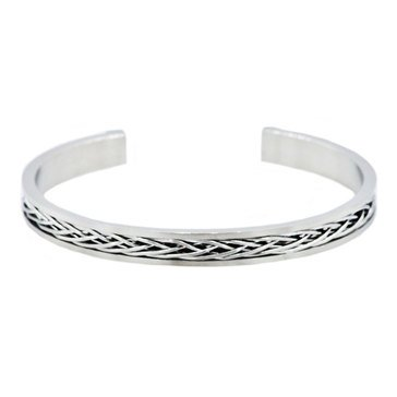 Blackjack Men's Stainless Steel Foxtail Cuff Bangle